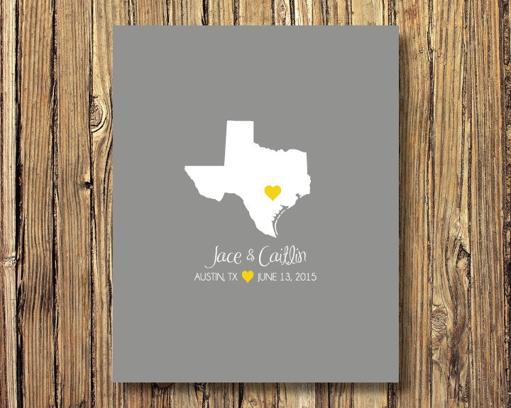 State Map Wedding Art Print-Guestbook Alternative-Texas Or Any State-Guest Book-Poster Or Canvas-16x20 - 18x24 20x30 24x36-Custom Colors