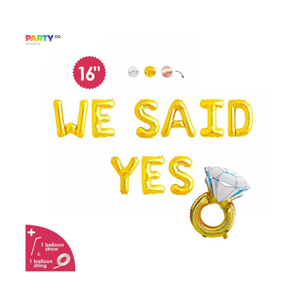 We Said Yes Balloon Banner | Engagement Party Decorations Engaged Banner/Sign