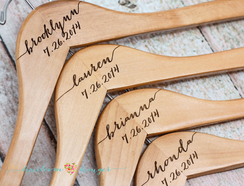 11 Personalized Wedding Hangers - Engraved Bridesmaid Wooden Bridal Party