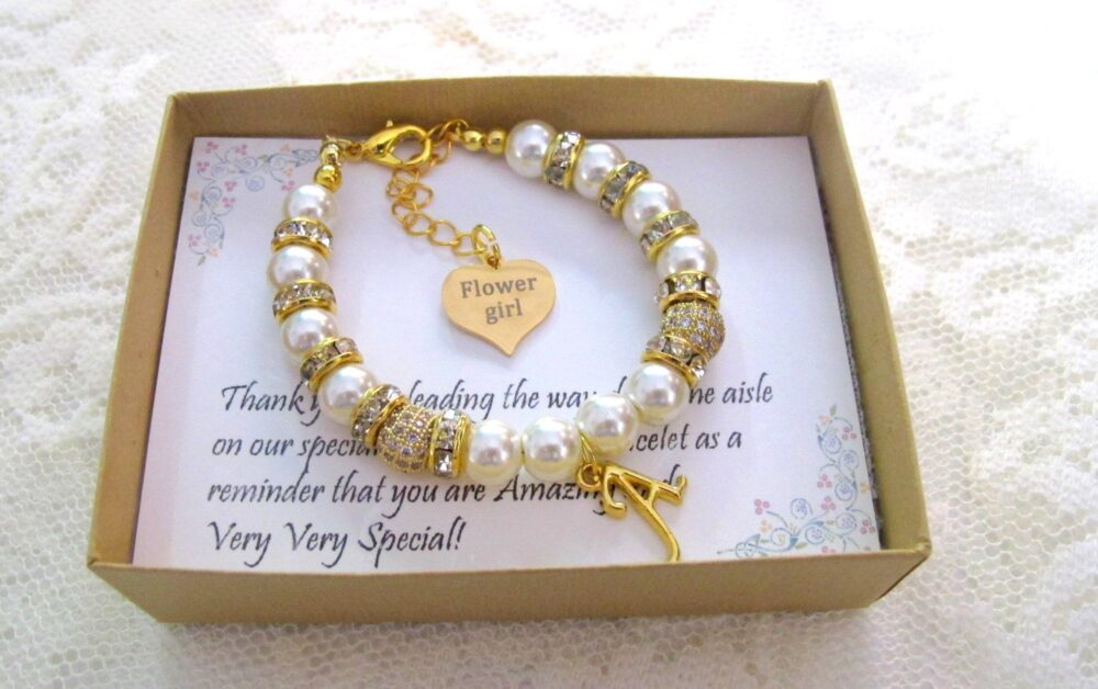 Flower Girl Bracelet, Personalized Jewelry, Flower Gift, Wedding Party Gift, Bridal Party, Will You Be My Bracelet