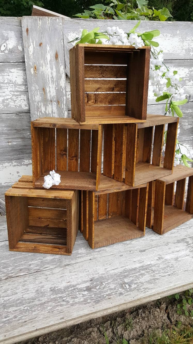 6 Rustic Cupcake Stand 8x8 , Wedding Crates Rustic Wood Cake Stand Decorations