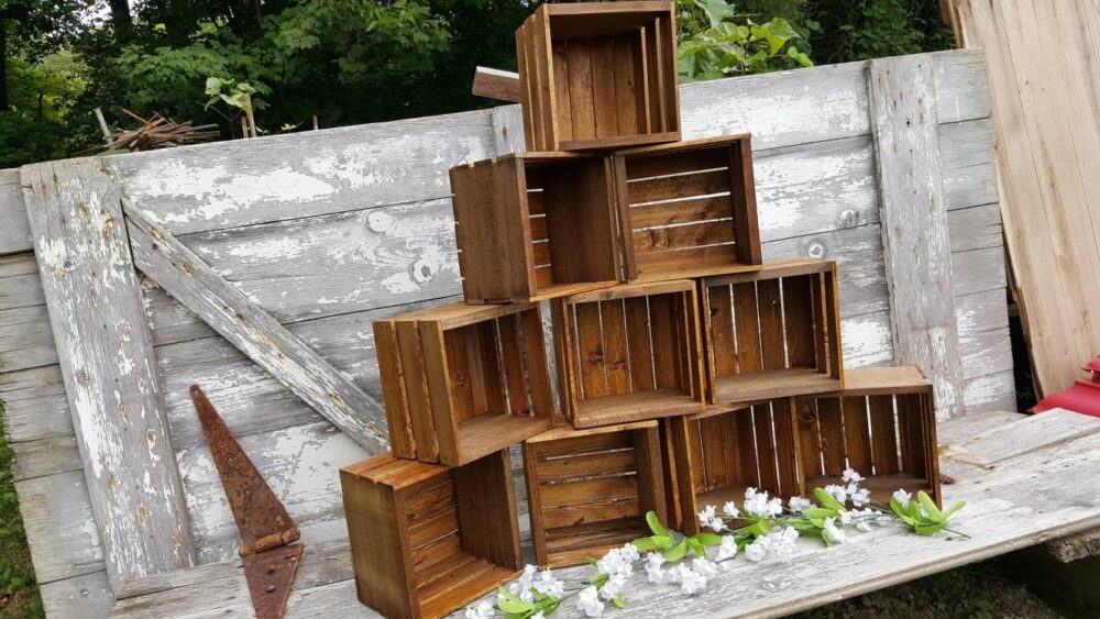 Rustic Cupcake Stand 8x8, Wedding Crates , Rustic Wood Cake Stand Decorations