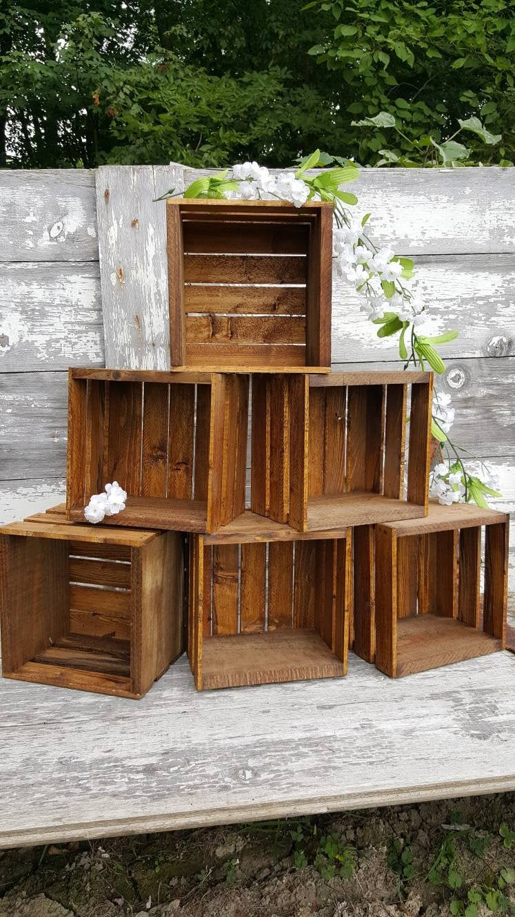 6 Rustic Cupcake Stand 8x8, Wedding Crates , Rustic Wood Cake Stand Decorations