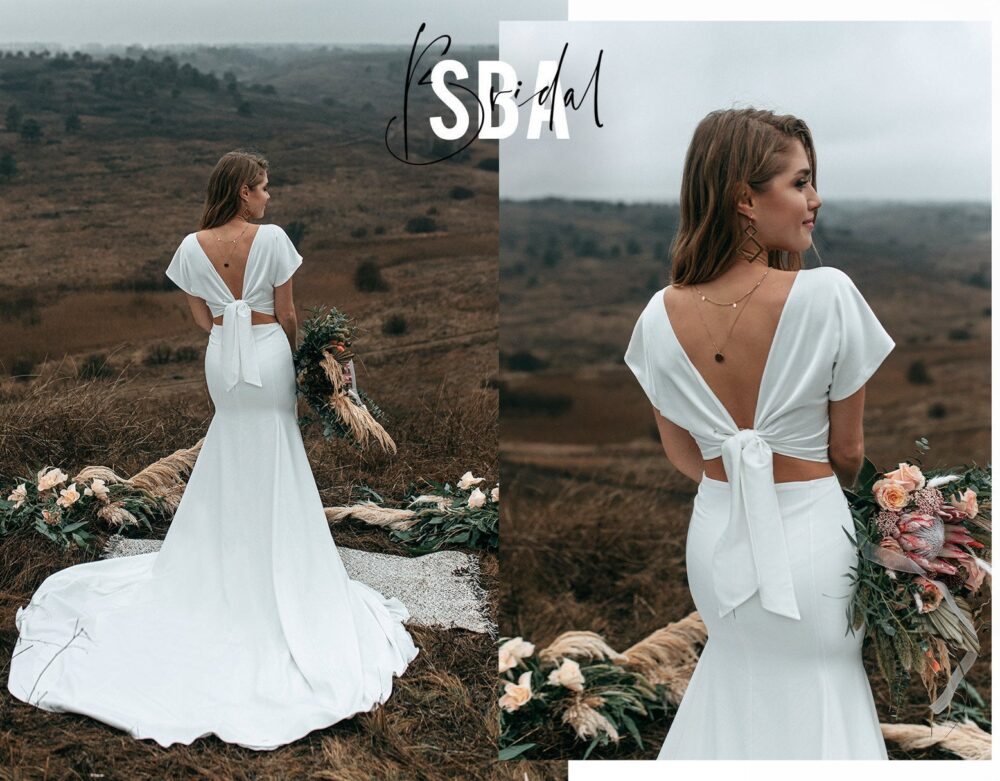 Fitted Bridal Silk Crepe Boho Dress Lia Fit Flare Skirt + Charlie Top With Bow, Rustic Simple A-Line Dress