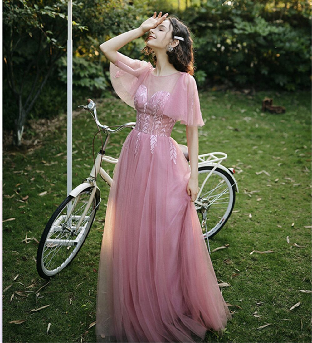 Blush Pink Bridesmaid Dress 4 Style Lace Appliques Prom A-Line Evening Party Bishop Graduation Floor Length Up Back