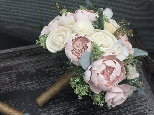 Blush Pink, Wedding Bouquet Made With Sola Flowers - Choose Your Colors Custom Alternative Bridal Bouquet Bridesmaids