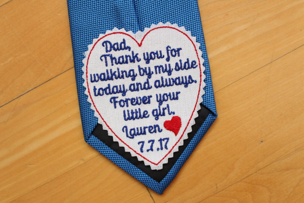 """Father Of The Bride Tie Patch, Wedding Tie Patch, Heart Label - 3"""" Wide, Forever Your Little Girl, Gift, Father Bride Gift"""