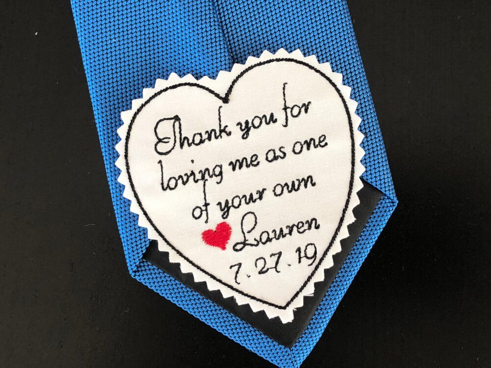 Wedding Tie Patch Stepfather Of Bride, Stepdad Personalised Heart Patch, Thank You For Loving Me As Your Own, Embroidered