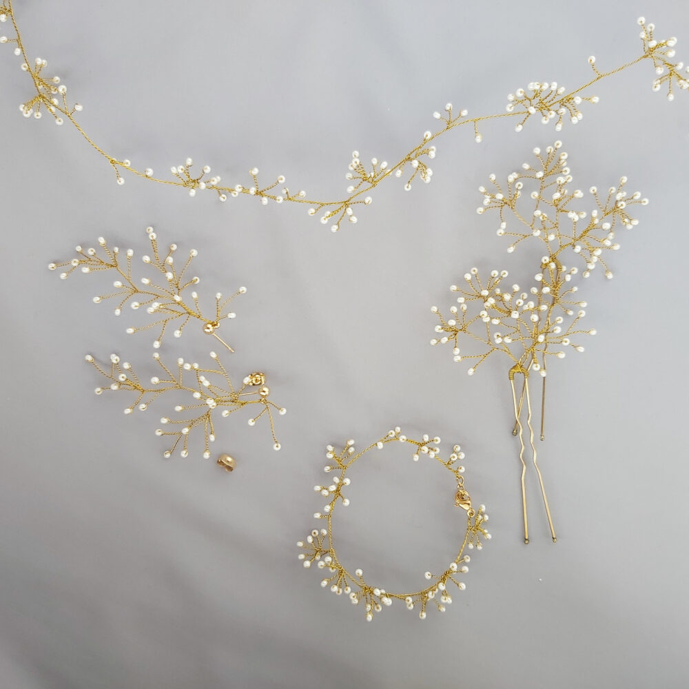 Babys Breath Hair Pins Small Wedding Piece Gypsophila Pin Dainty Prom Jewelry Set Bride Earrings For Day Accessories