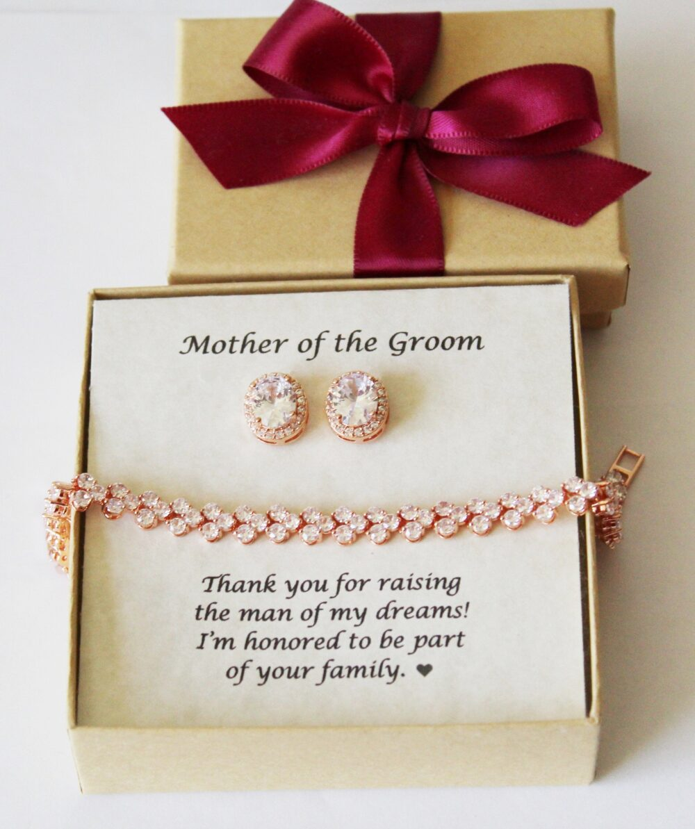 Mother Of The Groom Wedding Gift Set Bride Gold Mother Bracelet in Law Stepmother Earrings Rose