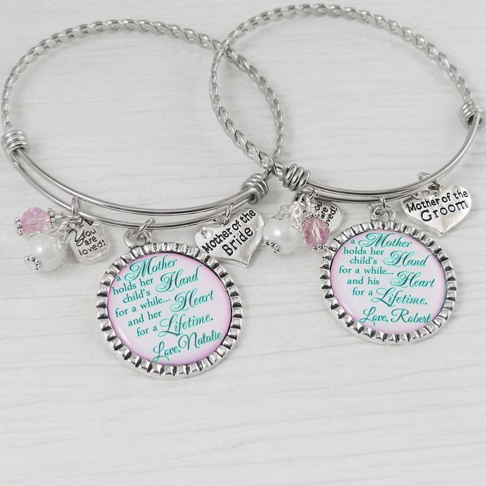 Wedding Gifts For Parents- Mother Of The Bride Bracelet -Mother Groom Bracelet, Gift From Bride-Gift - Personalized Date