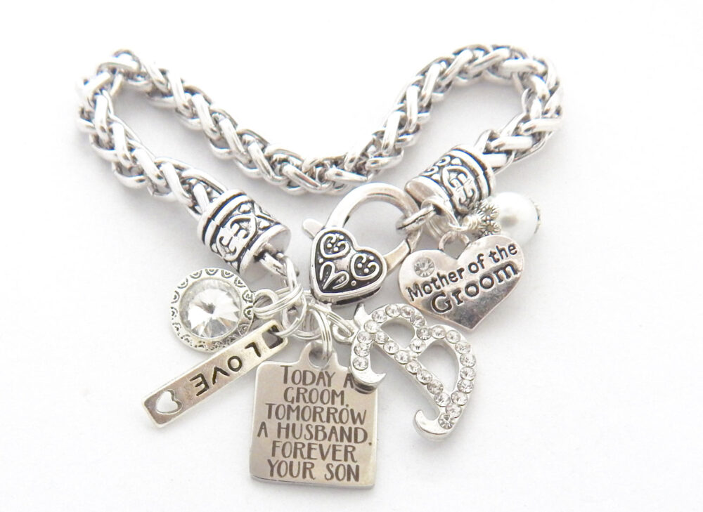 Personalized Wedding Charm Bracelet For Mother Of Groom Gift With Heart Lobster Clasp & Inspirational Quote-Mother Groom-In Law