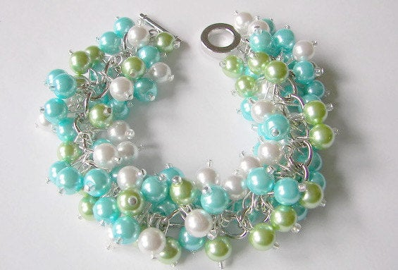 Tropical Beach Wedding Bridesmaid Bracelet, Lime Green Turquoise & White Pearl Cluster Bracelet.spring Jewelry, Mother Of The Bride Gift