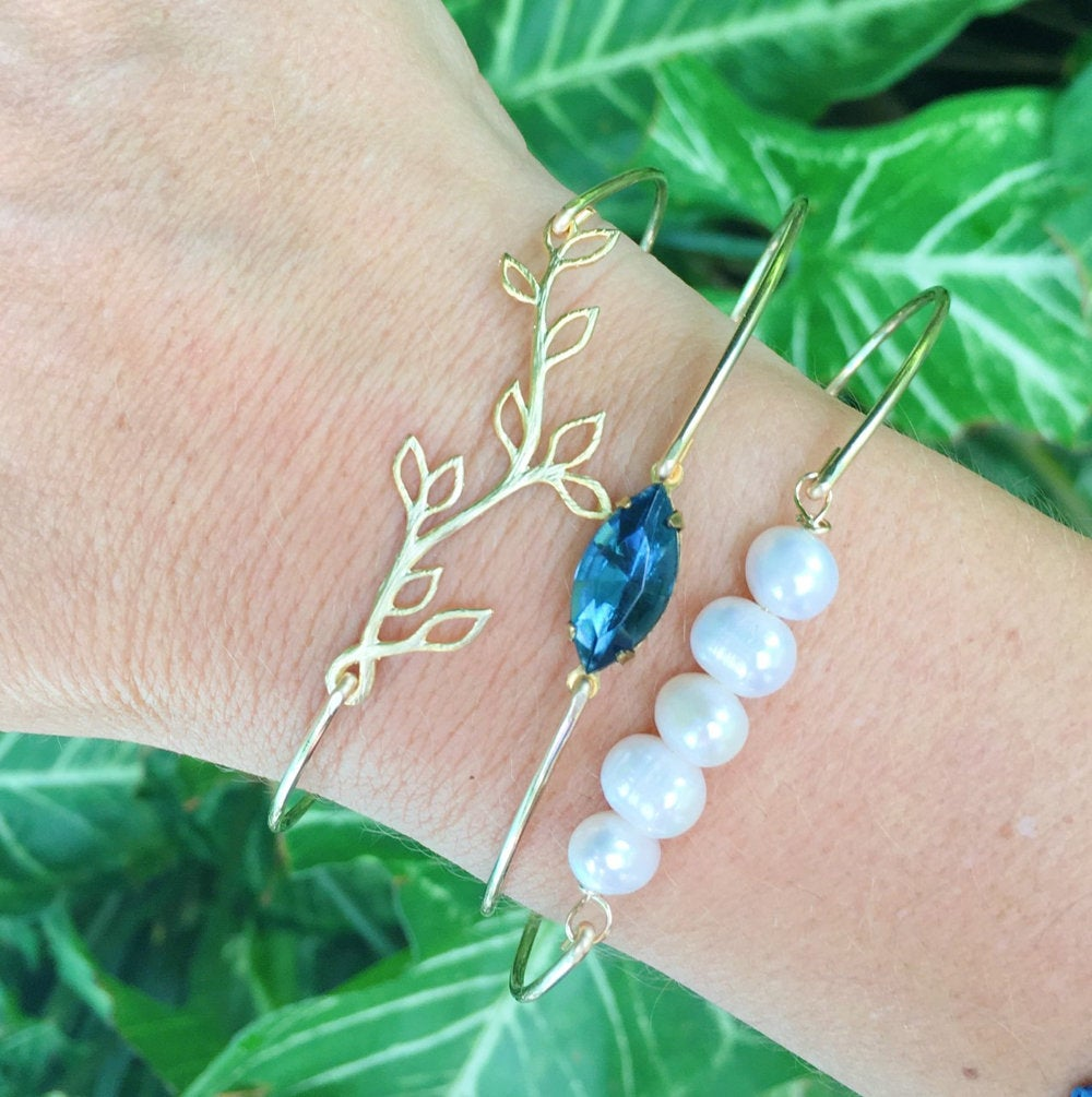 Blue Bridesmaid Jewelry Wedding For Bride Mother Of Or Groom Maid Honor Bracelet Set Bridal