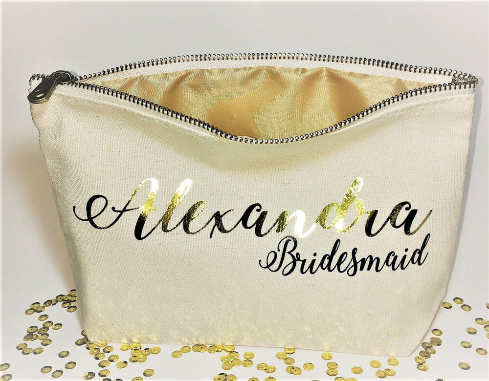 Personalized Wedding Makeup Bag - Canvas Cosmetic Gifts For Bridesmaid - Wedding Favors - Bridal Party Bags - Zipper Pouches