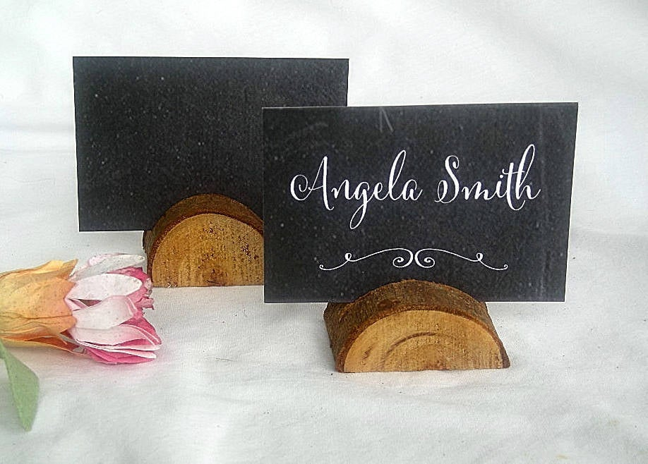 Wood Place Card Holder Rustic Wedding Decor Holders Woodland Table Number W Personalized Cards