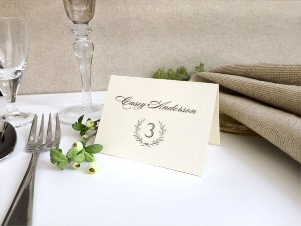 Laurel Wreath Ivory Wedding Place Cards - Folded Rustic Printed Name & Table Numbers
