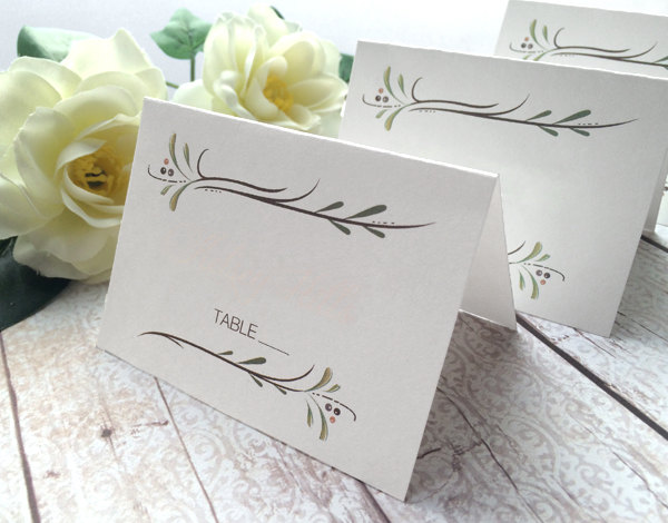 Blank Wedding Place Cards - White Escort Rustic Country Name