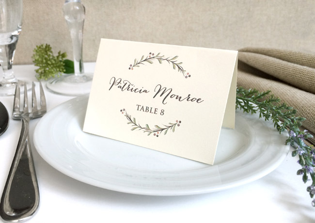 Ivory Wedding Place Cards - Rustic Name Printed Escort Floral Woodland Wreath Olive Branch Rosemary Sprigs