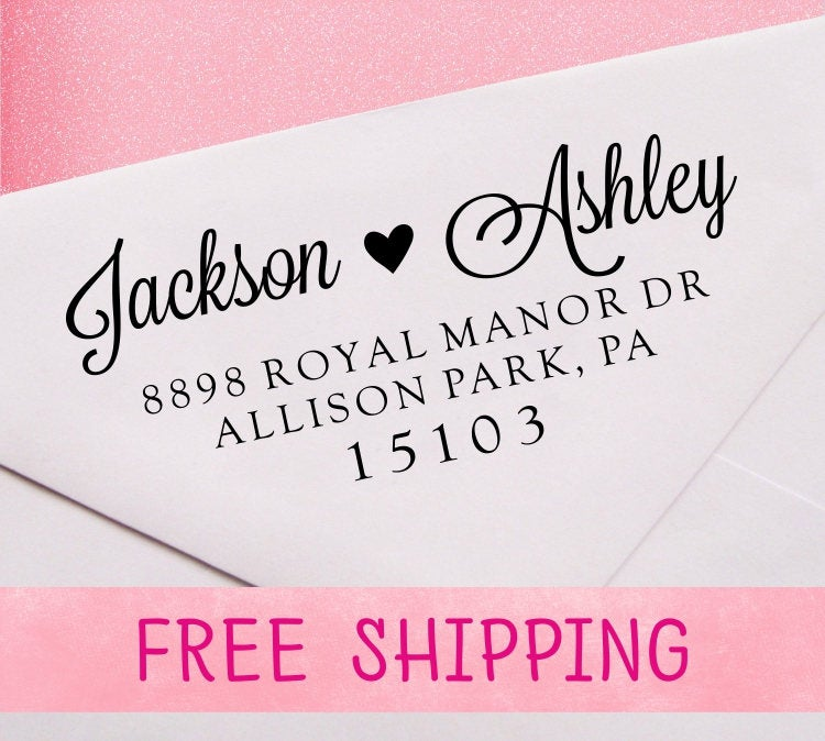 Wedding Address Stamp, Self Inking Heart Calligraphy Stamp - A14