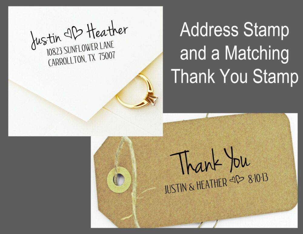 Save- Combo Deal - Wedding Address Stamp & Matching Thank You