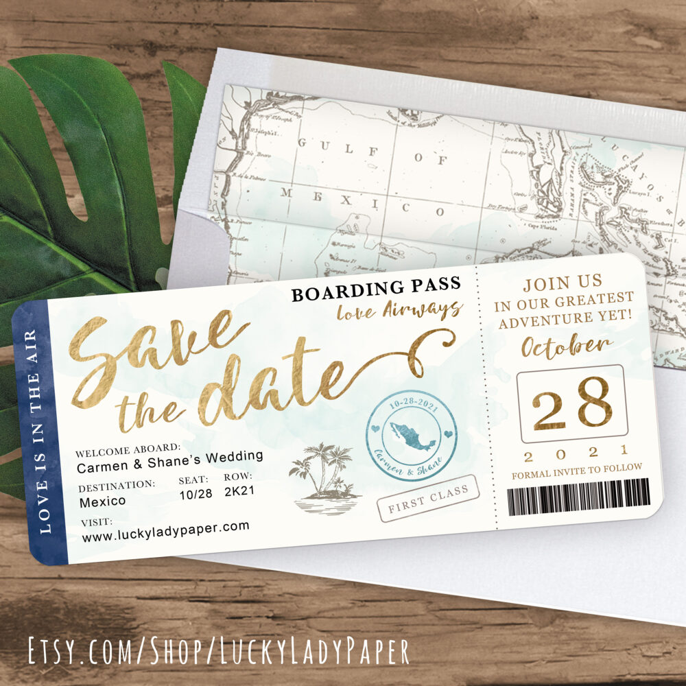 Destination Wedding Boarding Pass Save The Date Invitation in Navy, Gold & Aqua Watercolor By Luckyladypaper - See Item Details To Order