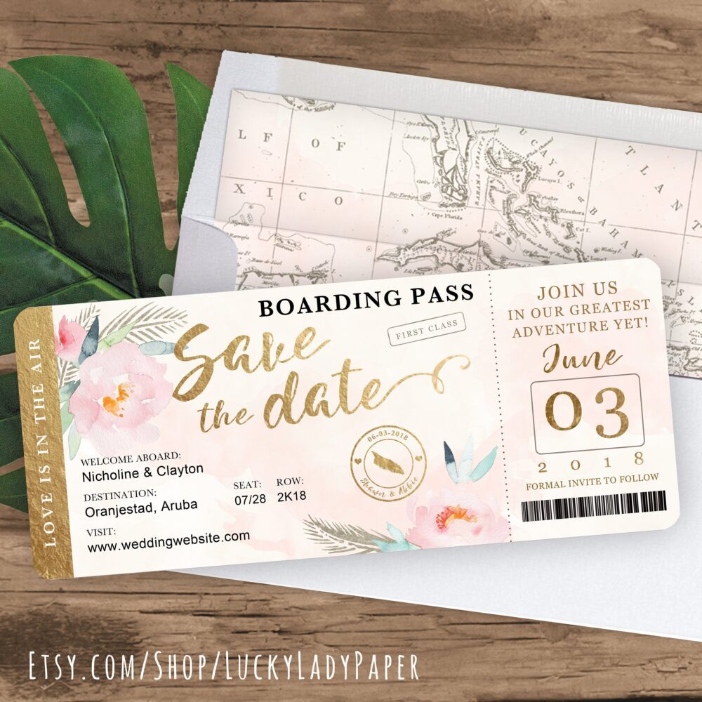 Destination Wedding Boarding Pass Save The Date Invitation in Gold & Blush With Peony Floral Watercolor - See Item Details To Order