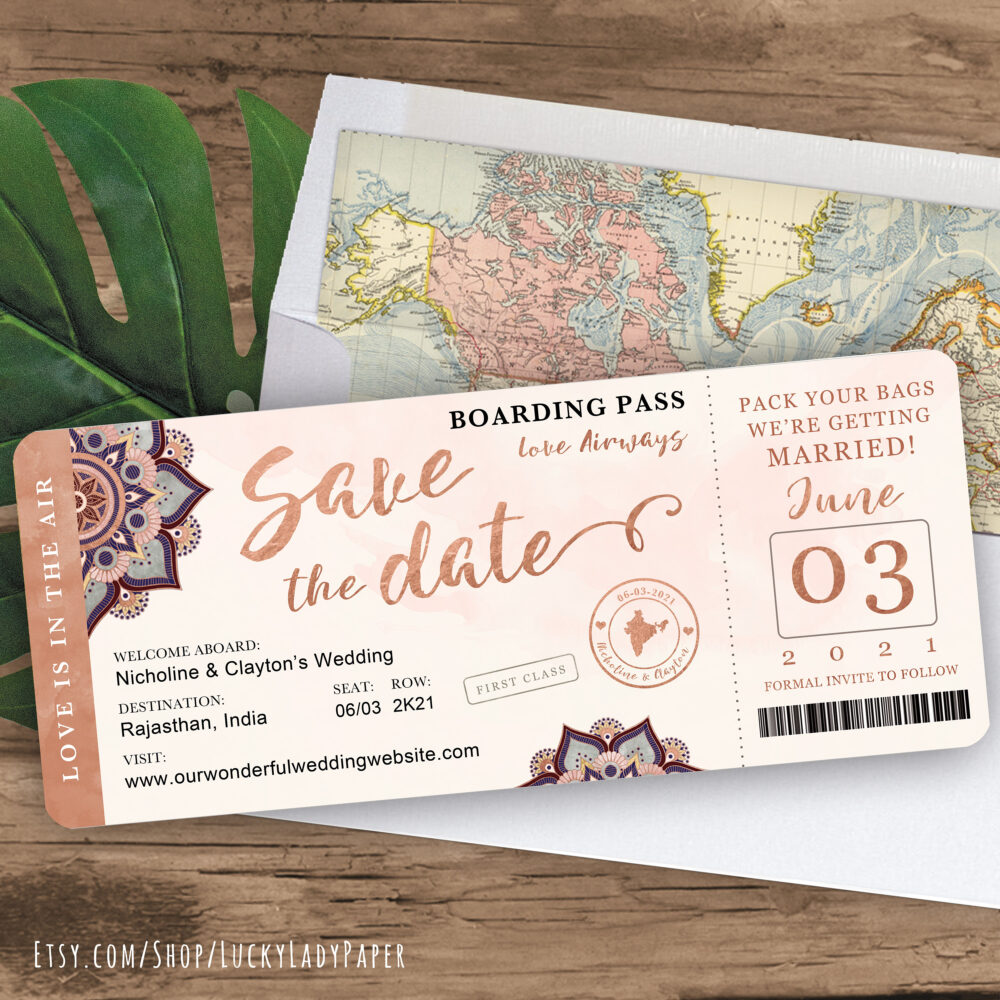 India Destination Wedding Boarding Pass Save The Date Invitation in Rose Gold & Blush Watercolor Mandala Design - See Item Detail To Order