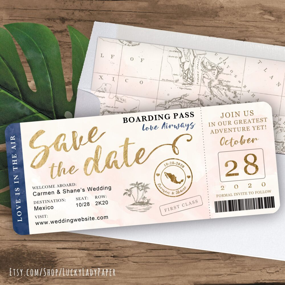 Destination Wedding Boarding Pass Save The Date Invitation in Navy, Gold & Blush Watercolor By Luckyladypaper - See Item Details To Order