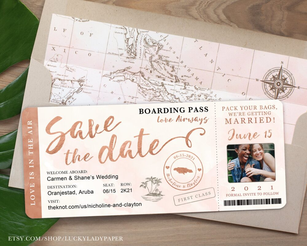 Destination Wedding Boarding Pass Photo Save The Date Invitation in Rose Gold & Blush Watercolor By Luckyladypaper - See Item Details