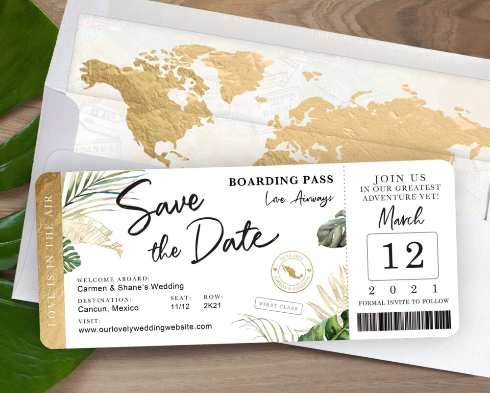 Destination Wedding Boarding Pass Save The Date Invitation Tropical Green Palm Leaves Theme By Luckyladypaper - See Item Details To Order