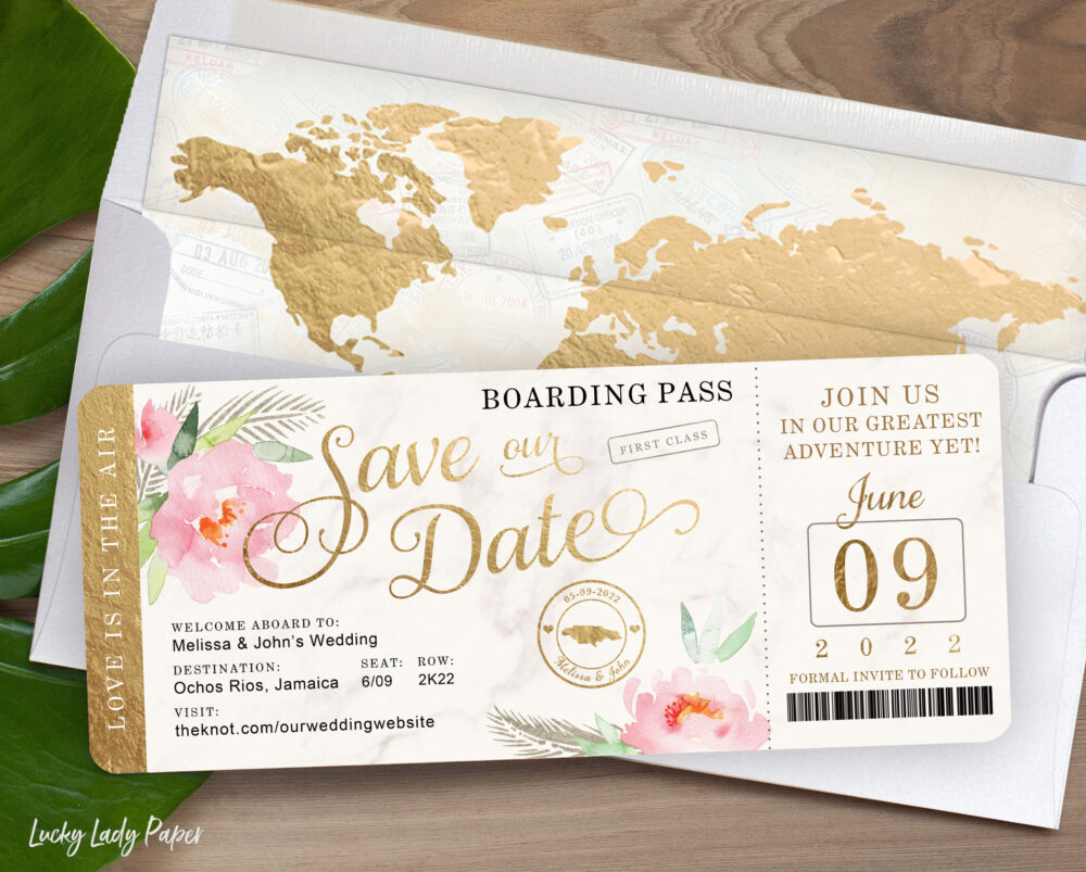 Destination Travel Wedding Boarding Pass Save The Date Invitation in Gold, Marble With Peony Floral Watercolor - See Item Details To Order