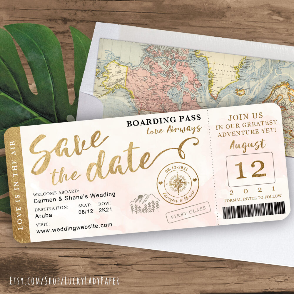 Mountain Destination Wedding Boarding Pass Save The Date Invitation in Gold & Blush Watercolor - See Item Details To Order