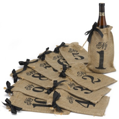 Burlap Table Number Wine Bags | Set Of 10 Bags Numbered 1-10
