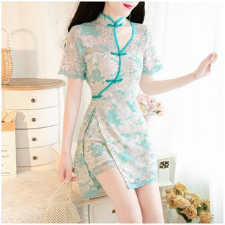 Short-Sleeve Button-Up Lace Dress
