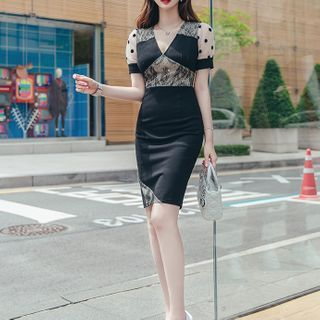 Dotted Short-Sleeve Sheath Party Dress