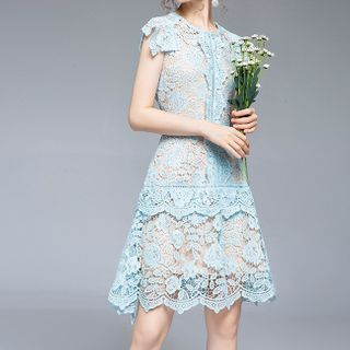 Collared Short-Sleeve A-Line Lace Party Dress