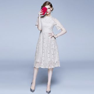 Short-Sleeve Lace A-Line Party Dress