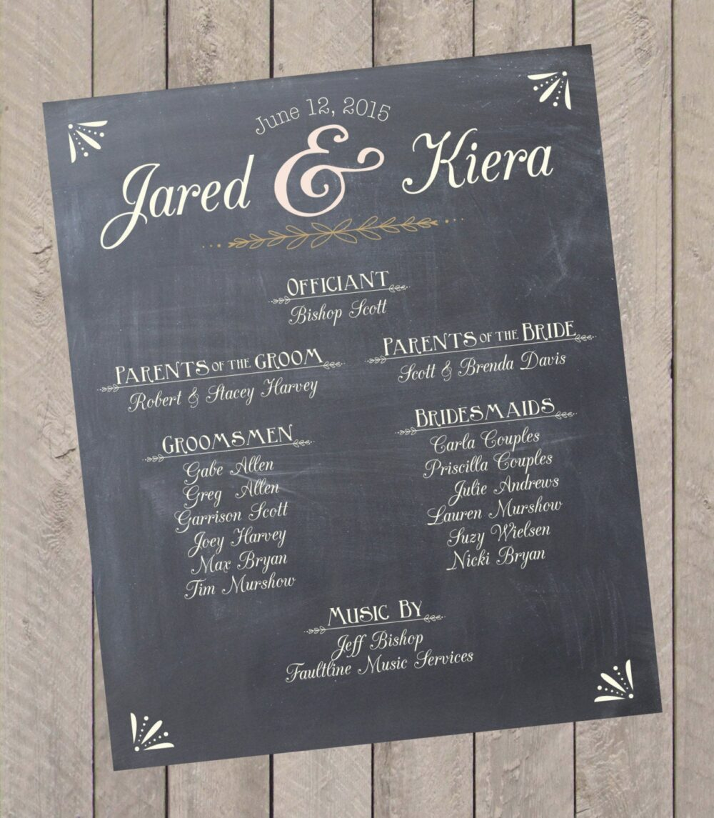 Custom Wedding Program Event Schedule Chalkprint Sign - Party Sign | Pdf File Signs, Reception