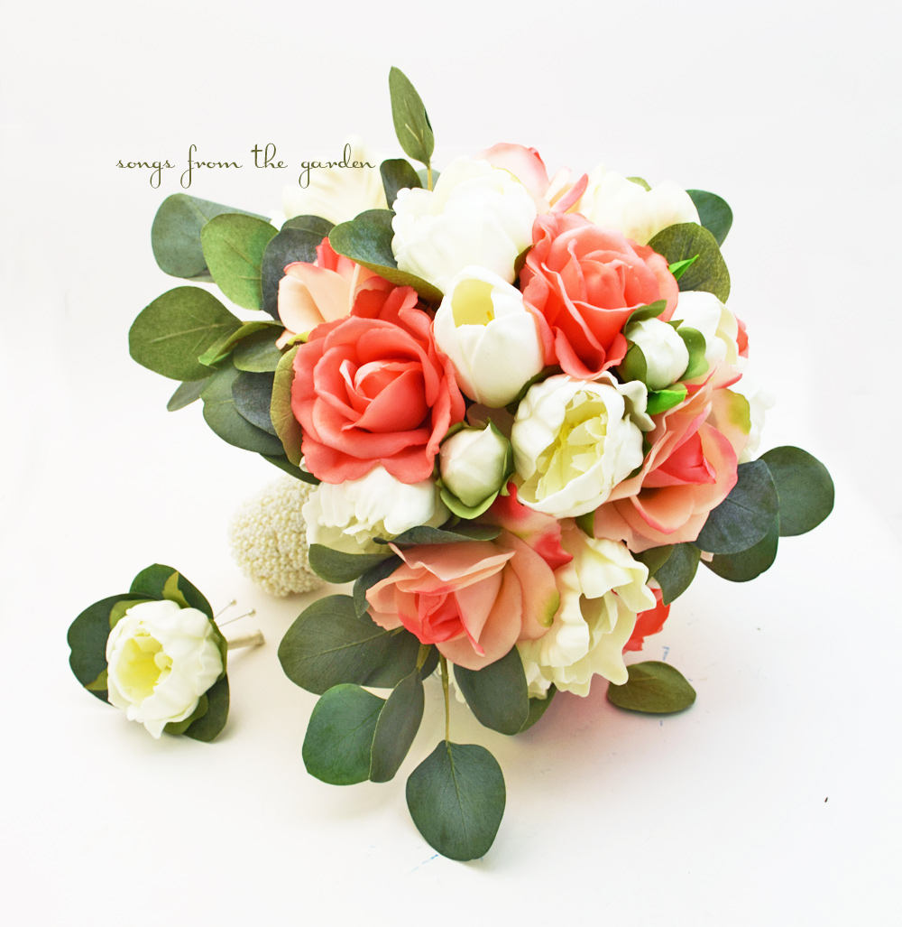 Coral & Peach Bridal Wedding Bouquet Eucalyptus Peonies Roses Tulips - Add A Groom's Boutonniere Choose Your Ribbon Color