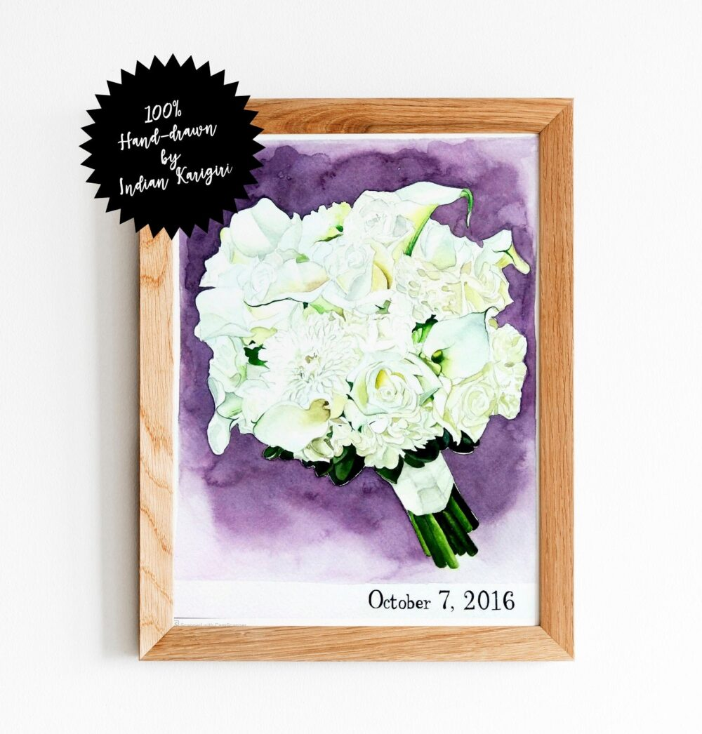 Wedding Bouquet Drawing, Wedding Painting, Custom Bridal Painting, Drawing, Watercolor Portrait