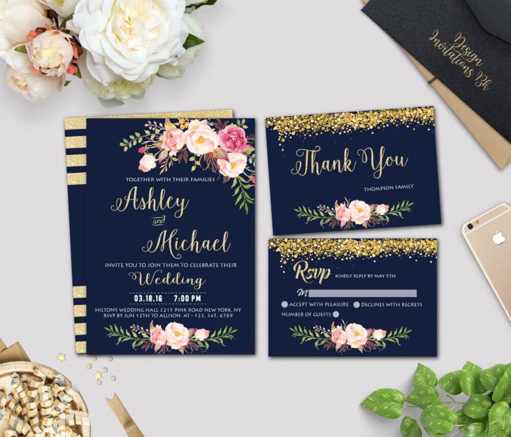 Gold, Wedding Invitation Template, Navy, Printable, Set, Floral Template Wd14