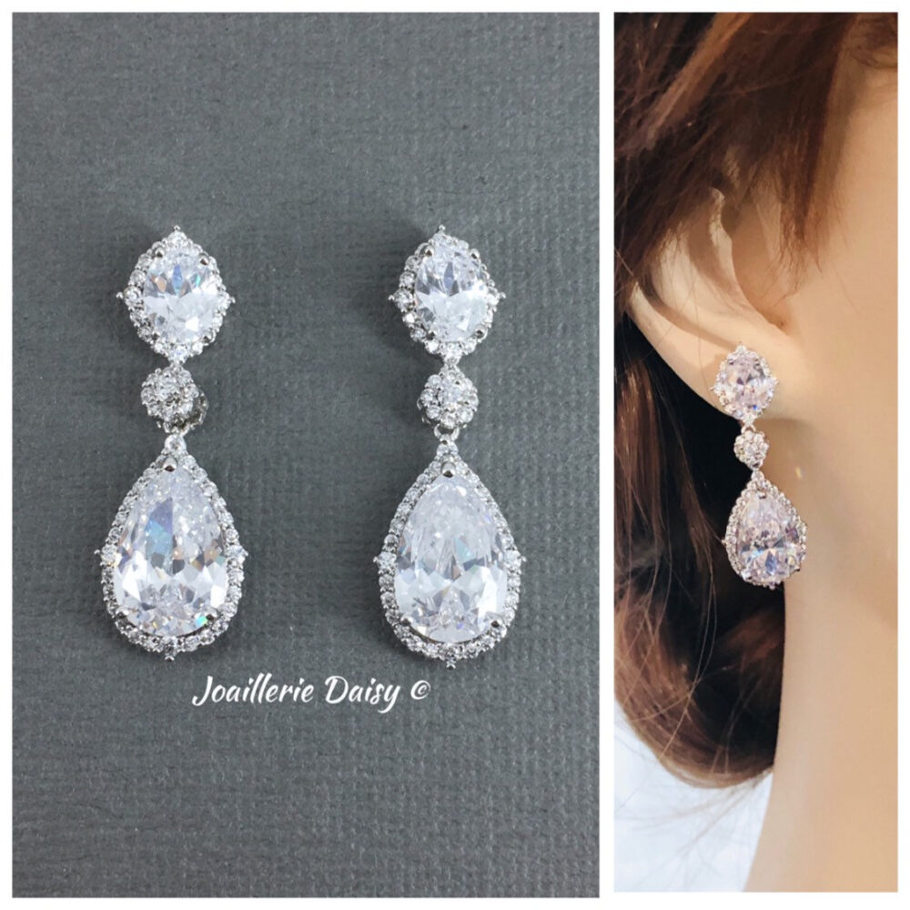 Silver Wedding Bridal Crystal Earrings, Bridesmaid Cubic Zirconia Prom Party Gifts For Mom
