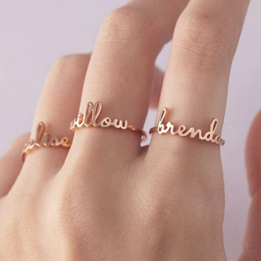Custom Name Ring, Customized Gift Band, English Engraved Personalized Women Band For Mother