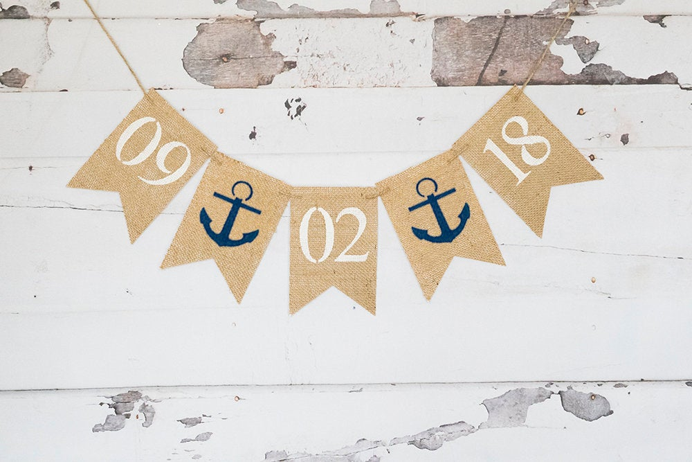 Nautical Save The Date Burlap Banner, Bridal Shower Decor, Rustic Engagement Announcement Sign, Country Wedding Photo Prop, B947