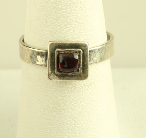 Silpada Sterling Silver Square Garnet Hammered Band Ring