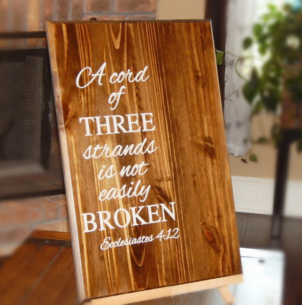 Cord Of Three Strands Wedding Board Sign, Wooden Rustic Wood Sign Ideas, Custom Decoration, Engagement Gift