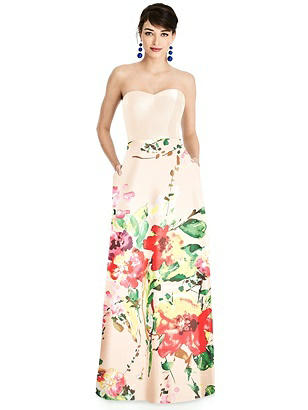 Special Order Strapless Floral Skirt A-Line Dress with Pockets