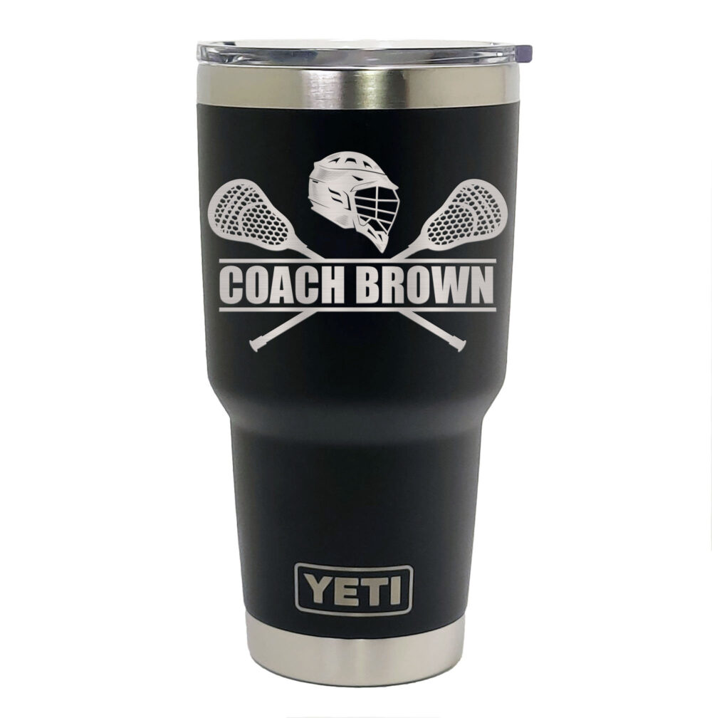 Yeti Black Stainless Steel Tumbler Laser Engraved 20 Or 30 Oz. - Personalized Lacrosse Player, Coach