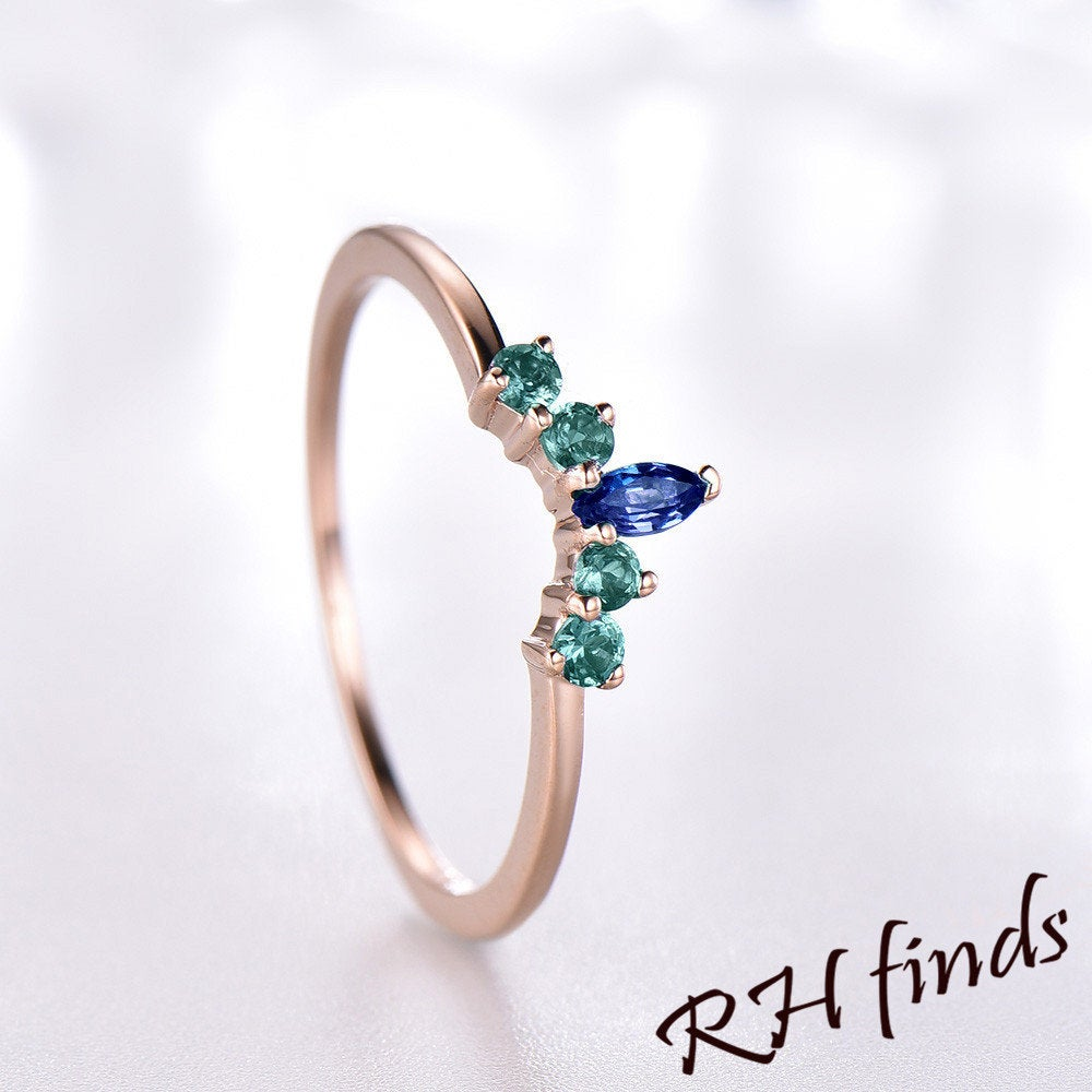 Chevron Sapphire Wedding Ring Art Deco Curved Lab Emerald Band Dainty 14K Rose Gold Stacking Rings For Women